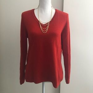 🆕Listing: V-neck Cashmere Sweater, Dark Orange